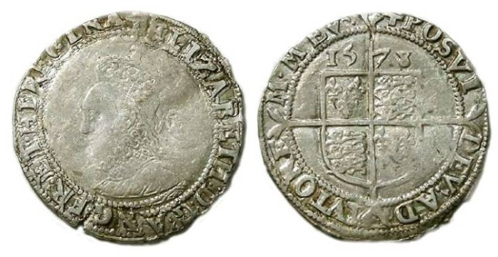 Ancient Coins - English, Elizabeth I,  Silver 6 pence of 1578.