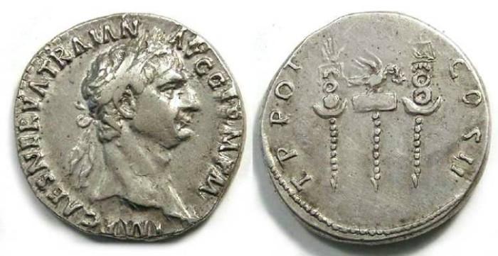 Ancient Coins - Trajan, AD 98 to 117. Silver Cistophorus.