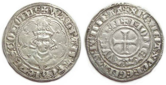 Ancient Coins - Germany, Koln Bishopric. Walram of Julich.  AD 1332 to 1349. Silver tournose.