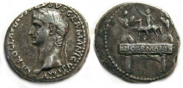 Ancient Coins - Nero Claudius Drusus, Silver denarius.