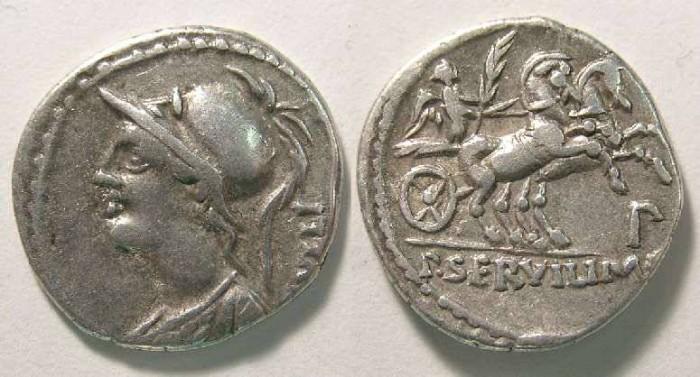 Ancient Coins - Roman Republic. P. Servilius Rullus. ca. 100 BC. Silver denarius