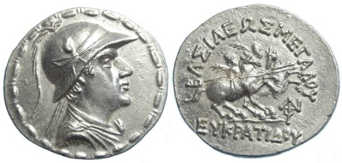 Ancient Coins - Kingdom of Bactria.  Eukratides, 171 to 135 BC. Silver tetradrachm.  SUPERB QUALITY.
