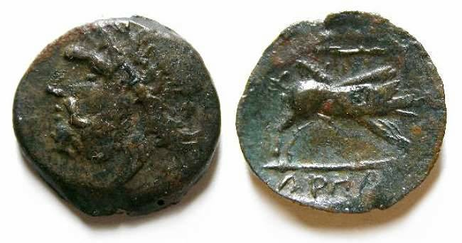 Ancient Coins - Arpi in Apulia (South Italy). 3rd Century BC. AE 19.