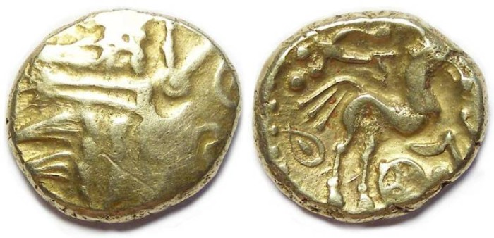 Ancient Coins - Celtic, British. Remic type gold stater.  1st century BC.
