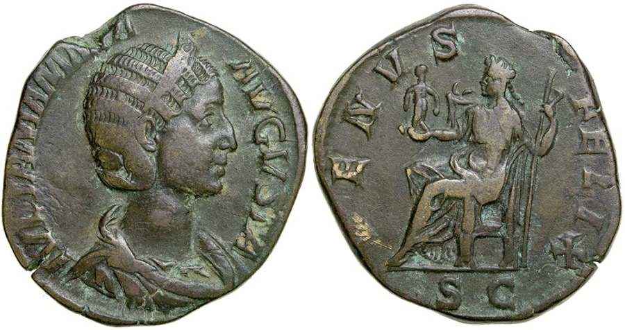 Ancient Coins - Julia Mamaea, mother of Severus Alexander, AD 222 to 235. AE Sestertius