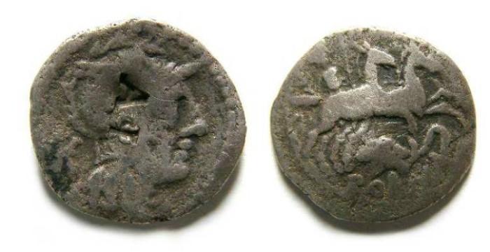Ancient Coins - Barbarous Imitative denarius of L. Caecilius Metellus Diadematus, with AL countermart.
