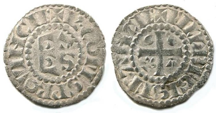 Ancient Coins - French  Feudal. Maine.  Charles d' Anjou, AD 1246 to 1285. Silver denier.