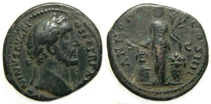 Ancient Coins - Antoninus Pius, AD 138 to 161, Copper AS.