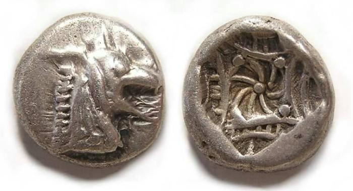 Ancient Coins - Caria, Kindya, ca. 500 BC, silver tetrobol.   HEAD RIGHT!
