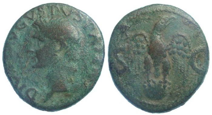 Ancient Coins - Augustus, Copper As struck under Tiberius.