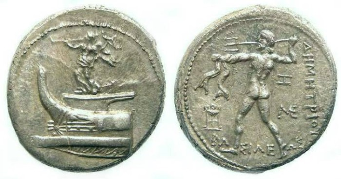 Ancient Coins - Macedonian Kingdom, Demetrios Poliorketes, 306 to 283 BC. Silver tetradrachm.
