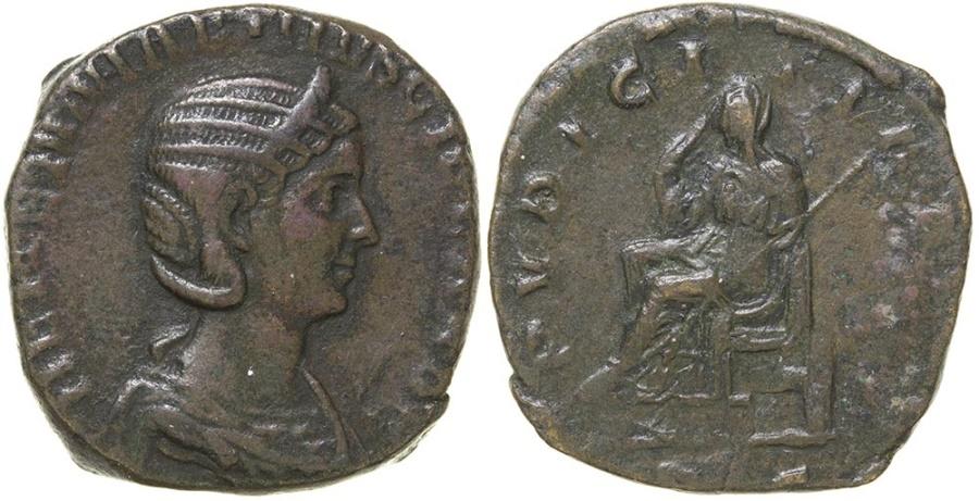 Ancient Coins - HERENNIA ETRUSCILLA.  AD 249-251.  AE SESTERTIUS.