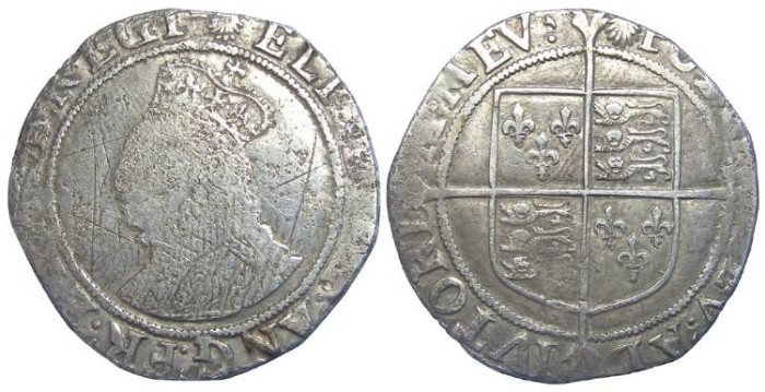 Ancient Coins - English, Elizabeth I, Silver shilling. Undated (ca. AD 1584 to 1586).