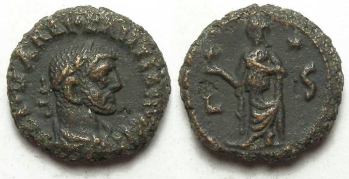 Ancient Coins - Alexandria, Diocletian, AD 284 to 305, Yr-6 potin tetradrachm. 18.5 mm.