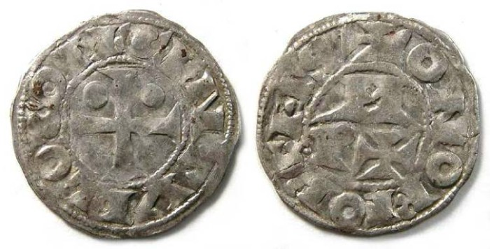 Ancient Coins - French Feudal. Bearn. Centulle 1st to 5th, 11th to 15th century. Silver denier.