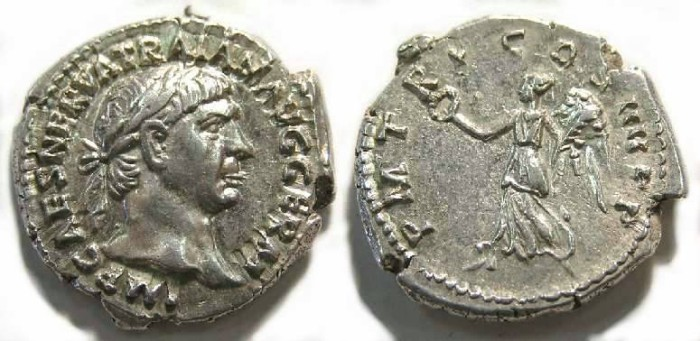 Ancient Coins - Trajan, AD 98 to 117. Silver denarius