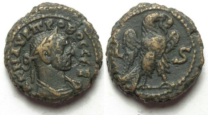 Ancient Coins - Alexandria, Probus, AD 276 to 282, Yr-6 potin tetradrachm. 18 mm.