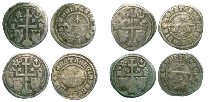 Ancient Coins - Slavonia. Ladislaus IV, AD 1272 to 1290. Silver denar.  Dealer lot of four coins