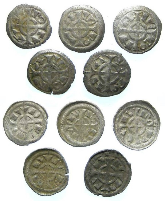 Ancient Coins - Italy, Verona. Fredrick II, 1218 to 1250, billon denaro.  DEALER LOT OF 5 COINS.