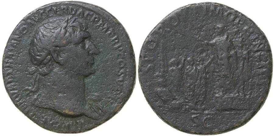 Ancient Coins - Trajan.  AD 98-117.  AE sestertius.  Circus Maximus scene.