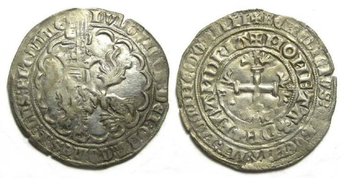 Ancient Coins - Low Countries, Flanders. Louis De Male, AD 1346 to 1384. Silver double Gros. LARGE FLAN.