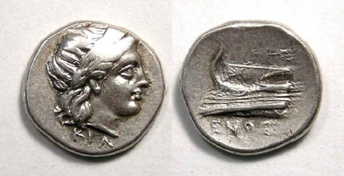 Ancient Coins - Bithynia, Kios. ca. 350 to 300 BC. Silver hemidrachm.