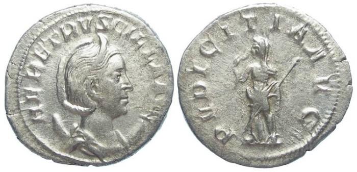 Ancient Coins - Herennia Etruscilla, wife of Trajan Decius. AD 249-251. Silver Antoninianus