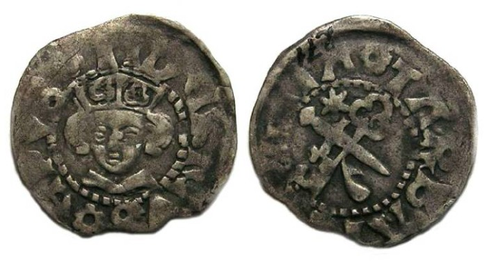 Ancient Coins - Estonia.  Dorpat., Dietrich IV Resles.  AD 1413 to 1441.  Silver Schilling