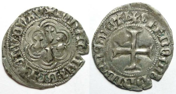 Ancient Coins - French Feudal. Bretagne. Jean V, AD 1399 to 1442. Silver Blanc.