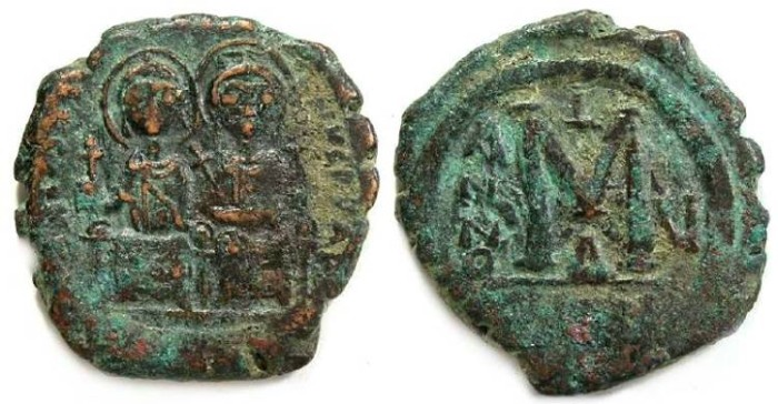 Ancient Coins - Byzantine, Justin II and Sophia, AD 565 - 578. Bronze follis.