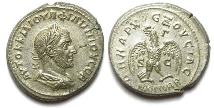 Ancient Coins - Philip I, AD 244 to 249. Billon tetradrachm from Antioch.
