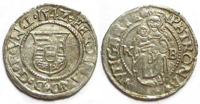 Ancient Coins - Hungary. Ferdinand, 1526 to 1564. Silver denar. Dated 1542