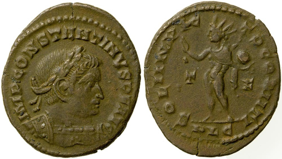 Ancient Coins - Constantine the Great, AD 307 to 337. AE reduced follis. Lugdunum mint