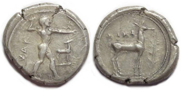 Ancient Coins - Kaulonia in Bruttium. Silver stater (Nomos) ca. 475 to 425 BC.