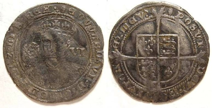 Ancient Coins - English, Edward VI, AD 1547 to 1553. Silver six pence.