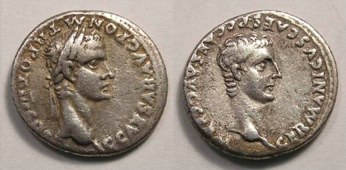 Ancient Coins - Caligula, AD 37 to 41. Silver denarius.  With Germanicus.