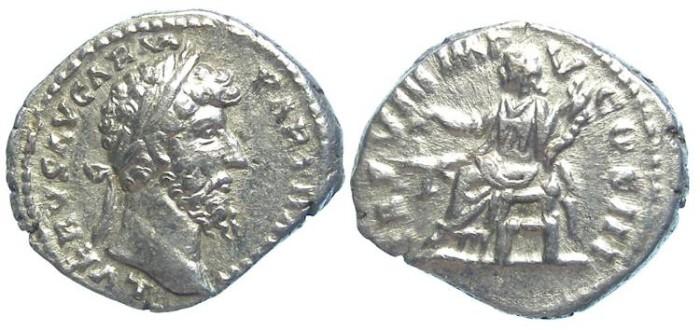 Ancient Coins - Lucius Verus, AD 161 - 169. Silver denarius