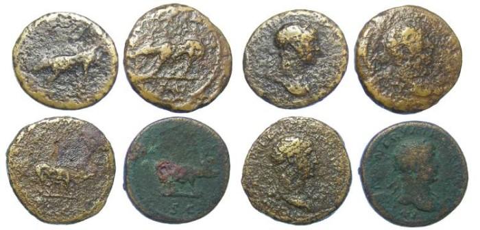 Ancient Coins - Lot of 4 coins.  Trajan. AD 98-117. AE Quadrans.