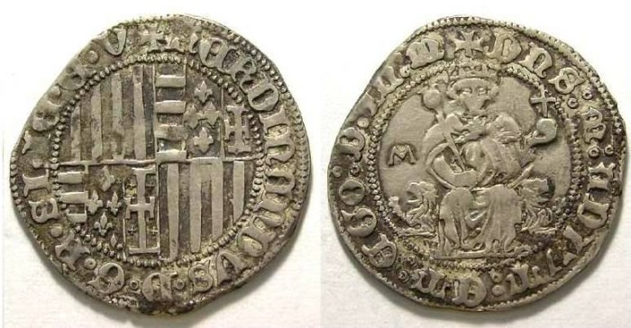 Ancient Coins - Italy, Naples, Ferdinand I, AD 1458 to 1494. Silver Carlino