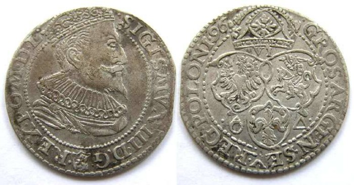 Ancient Coins - Poland, Sigismund III, 1587 to 1632.  Silver 6 groszydated 1596.