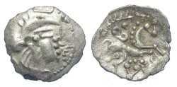 Ancient Coins - Celtic, North West Gaul.  Unelli, ca. 70 to 60 BC.  Silver 1/8 stater.