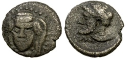 Ancient Coins - CILICIA.  UNKNOWN MINT (possibly Mallos).  4TH CENTURY BC.  AR HEMIOBOL.