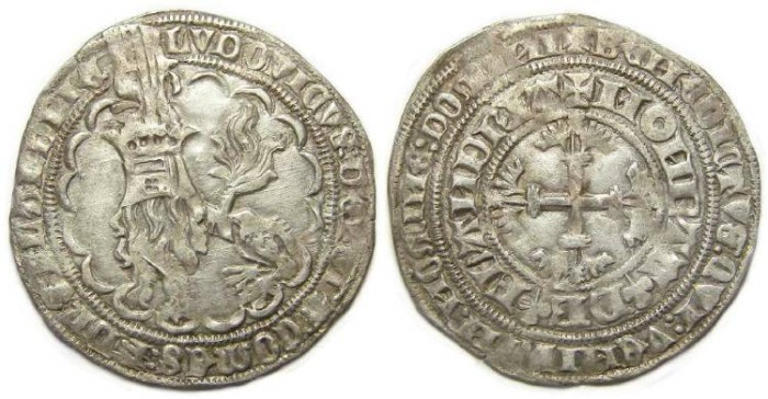 Ancient Coins - Low Countries, Flanders. Louis De Male, AD 1346 to 1384. Silver double Gros.