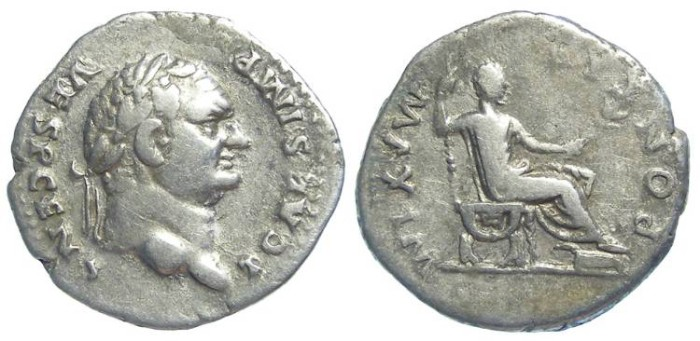 Ancient Coins - Titus as Caesar, AD 69 to 79.  Silver denarius.  Rare reverse for Titus (possibly a mule).