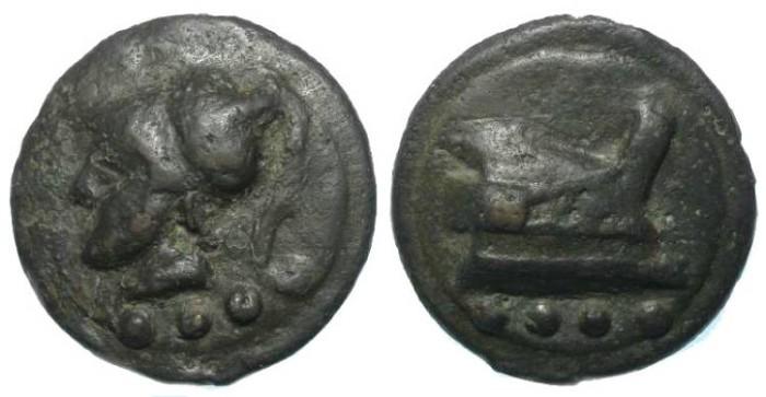 Ancient Coins - Roman Republican Aes Grave. AE Triens. ca. 280 to 269 BC.