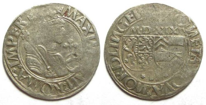 Ancient Coins - Germany, Nordlingen.  Stuck by Eberhard IV, 1506 to 1535, but naming Maximilian.  Silver Batzen dated 1519.