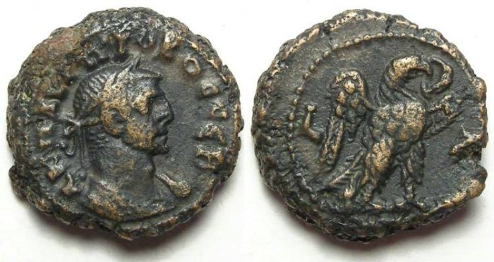 Ancient Coins - Alexandria, Probus, AD 276 to 282, Yr-uncertain (probably 7)  potin tetradrachm. 19 mm.