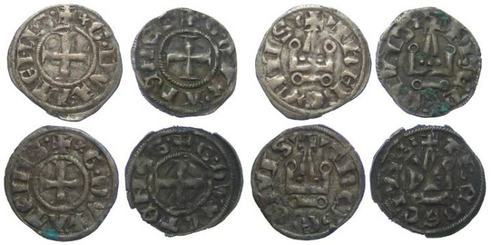 Ancient Coins - Lot of 4 coins. Crusaders in Frankish Greece, Athens, William de la Roche, AD 1280-1287 and Guy II de la Roche, AD 1287 to 1294