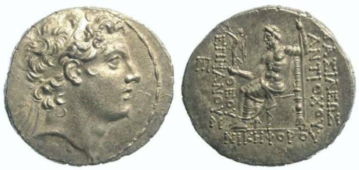 Ancient Coins - Seleukid. Antiochos IV, 175 to 164 BC. Silver tetradrachm.