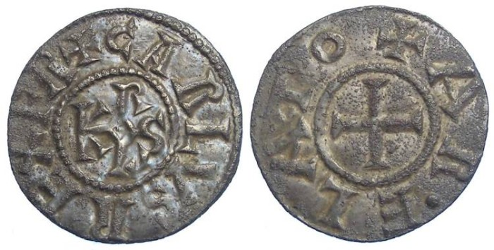 Ancient Coins - Carolingian, Charlemagne. AD 768 to 814. Silver Denier.